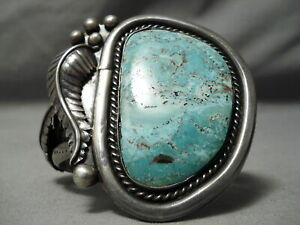 ONE-OF-THE-BEST-VINTAGE-NAVAJO-CARICO-LAKE-TURQUOISE-STERLING-SILVER-BRACELET