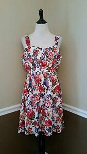 0b68db883c NEW Modcloth Dress M White Floral Sundress Retro A-Line Belles in ...