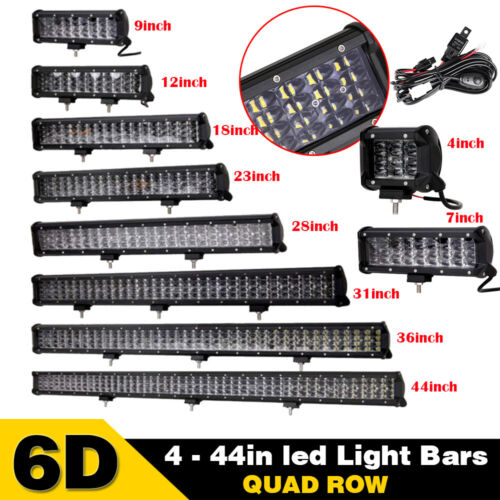 "6D Quad-Row LED Work Light Bar Combo Offroad 4 7 9 12 18 20 23 28 31 36 44/"" inch"