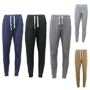 New-Men-039-s-Slim-Cuffed-Hem-Trousers-Plain-Track-Sweat-Pants-Suit-Gym-Casual-Sport