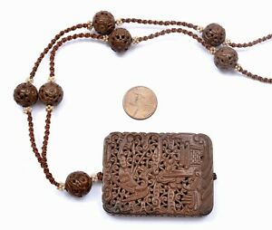 Chinese Herb Medicine Chenxiang Aloeswood Plaque Necklace Seed Pearl Bead 紫金锭藥牌