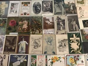 Lot-of-40-Antique-1900-039-s-Mixed-Topics-Greetings-Postcards-All-with-stamps-a573