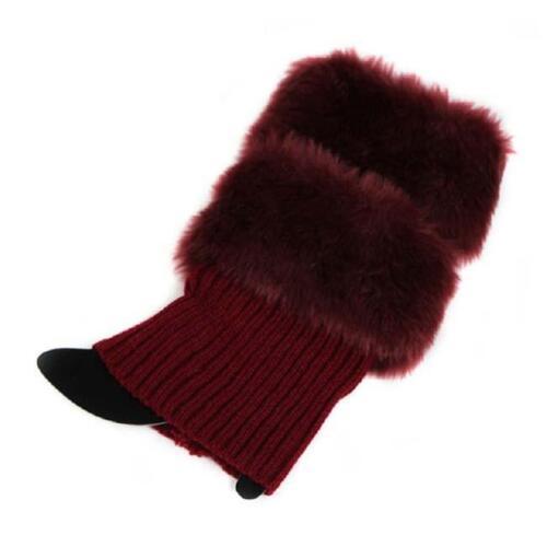 Women Winter Leg Warmers Lady Crochet Knit Fur Trim Boot Socks Toppers Cuff YW
