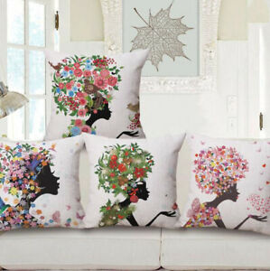 Decorative Smile Flower Girl Design Throw Pillow Case Cover Cushion 18x18 Inches