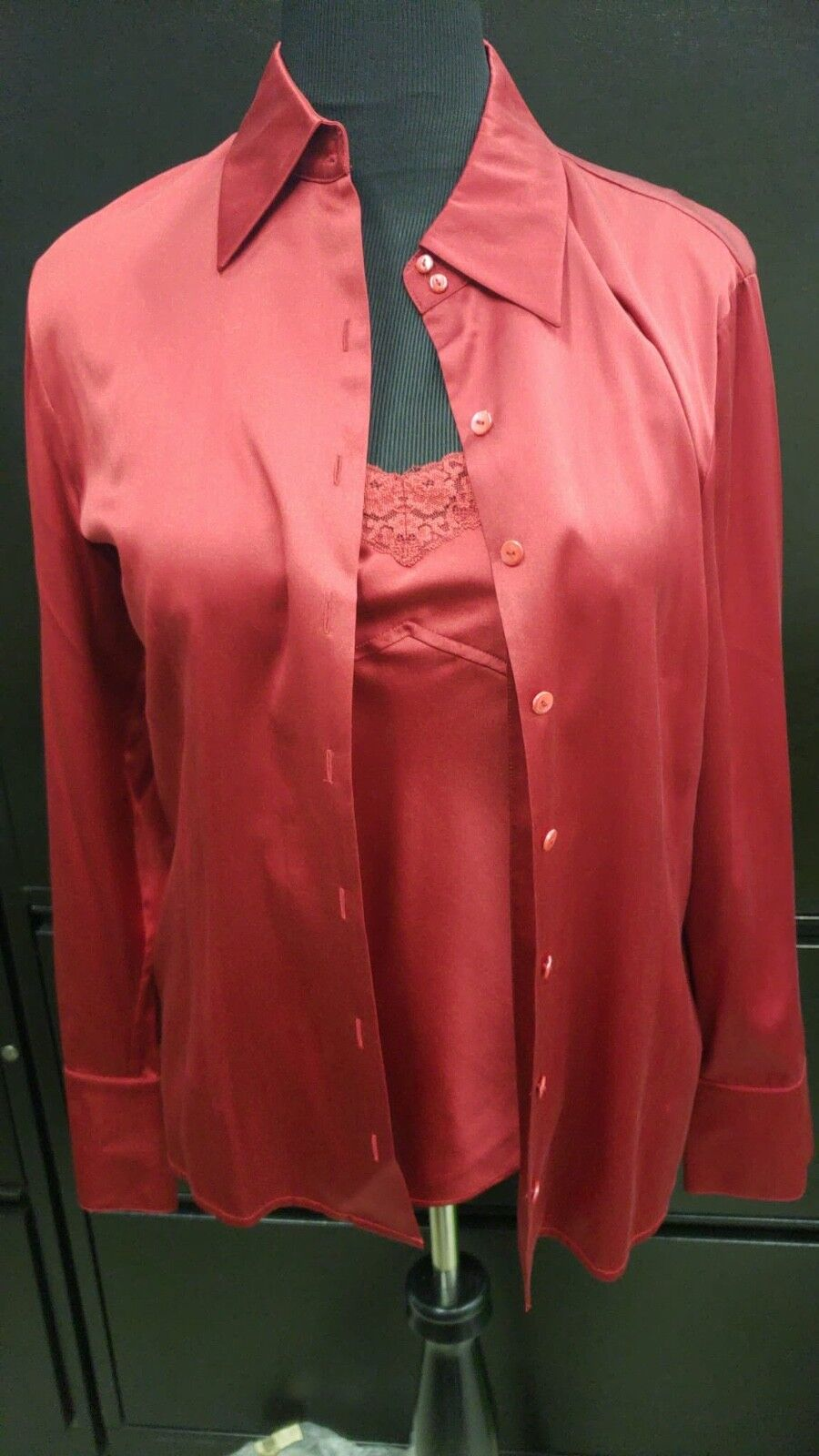 Talbots 2-pc Red Silk Stretch Camisole  Button Up Shirt Blouse Holiday Christmas