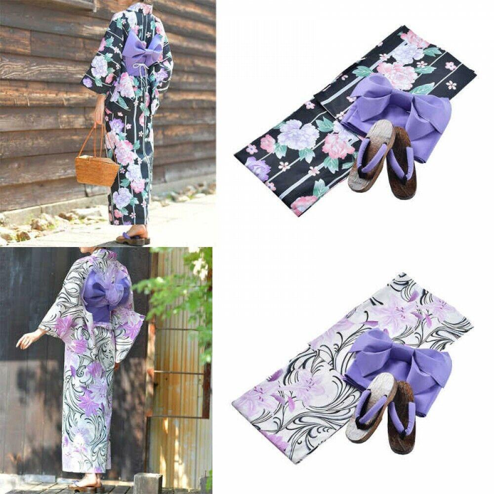 2020 S/s Japanese Womens Yukata Pre-tied Obi Footwear Set BK2/WH2 Japan Tracking