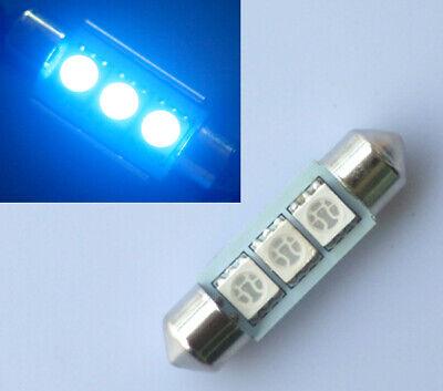 2x Blau 42mm 4 SMD LED Soffitte Sofitte Nummerschild Licht 12V DC Deutsche Post