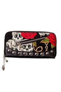 Sugar-Skull-Roses-Gothic-Punk-Emo-Rockabilly-Wallet-Purse-By-Banned-Apparel