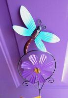 Blue Dragonfly 24 Yard Art Stake Garden Purple Windmill Decoration