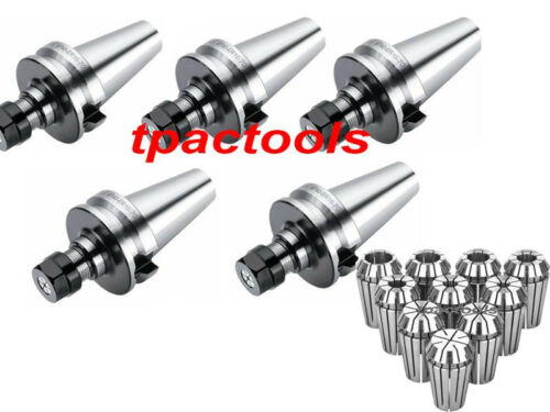 5PC BT40 ER16 PRECISION COLLET CHUCK 20000 RPM AND 10PC ER16 COLLETS NEW