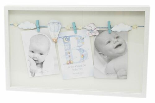 New Baby Triple Clothes Line Peg Wooden Box Photo Picture Frame