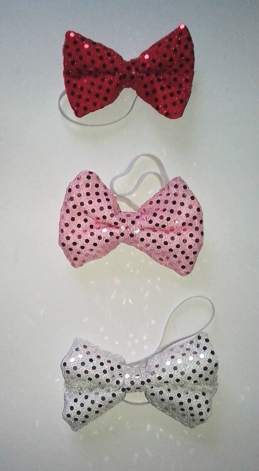 Sequin Material Bow Ties - Red, Pink and Silver Hand Made