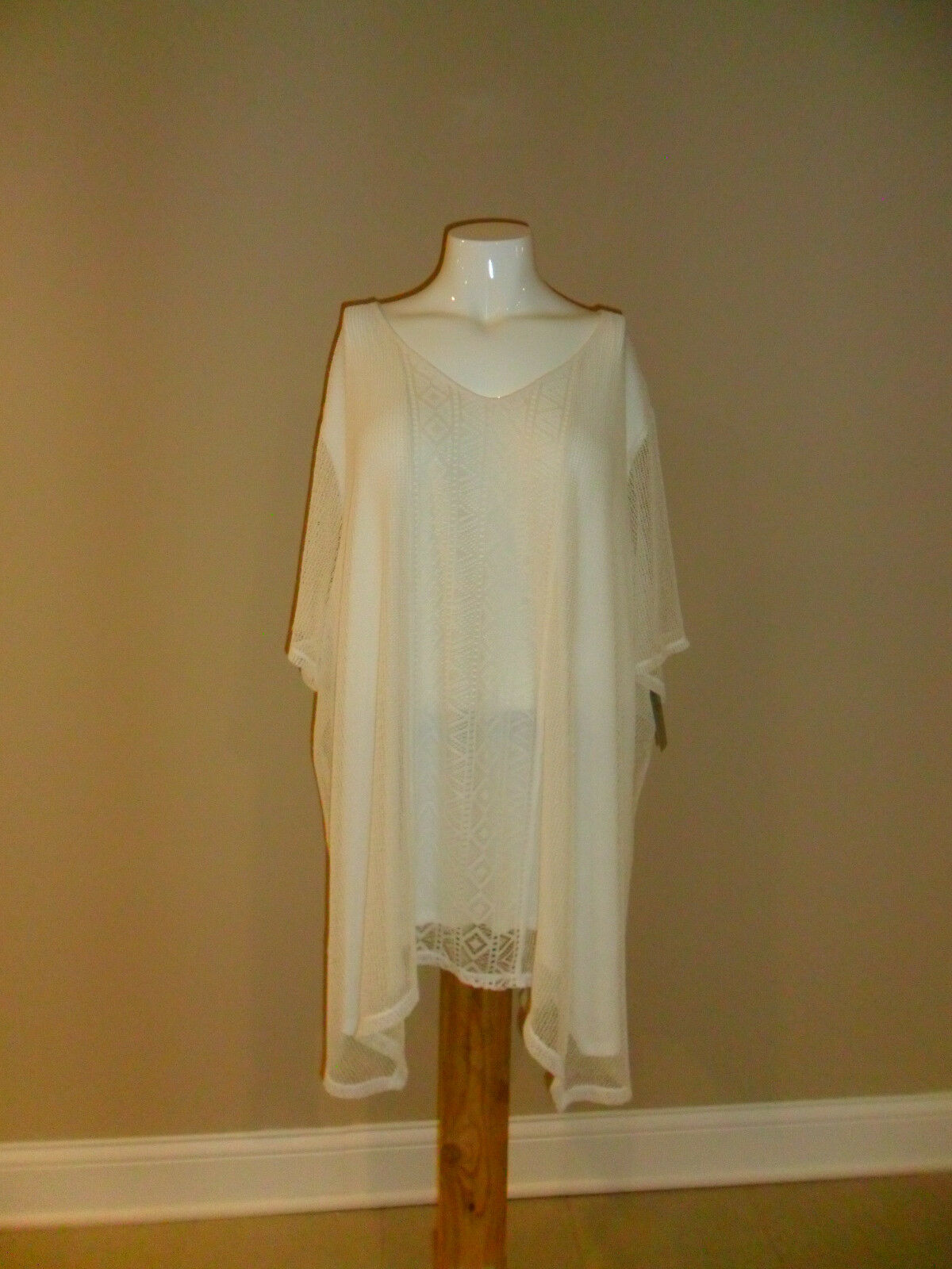 Catherines plus Kurz Sleeve Crochet Overlay V-neck Ivory 5X(34w-36w) NEW