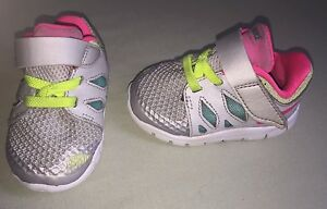 5e5495d8f265 USED NIKE FREE INFANT TODDLER SZ 3C GRAY PINK TEAL VOLT YELLOW SLIP ...
