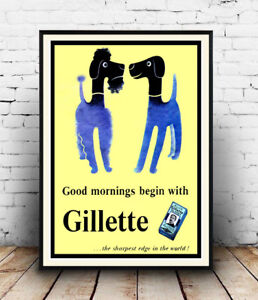 Gillette-good-morning-Vintage-Razor-blade-ad-Wall-art-poster-Reproduction