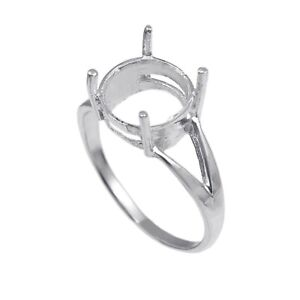 Sterling Silver 6 mm Round Semi Mount Ring Setting 925 Silver 6 mm Round Ring