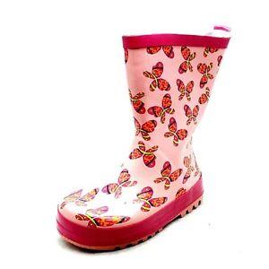 Mädchen rosa Schmetterling wadenlang Gummi Stiefel NEU