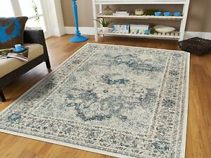 Distressed Area Rugs 8x10 Cream Blue Rug 5x7 Living Room ...