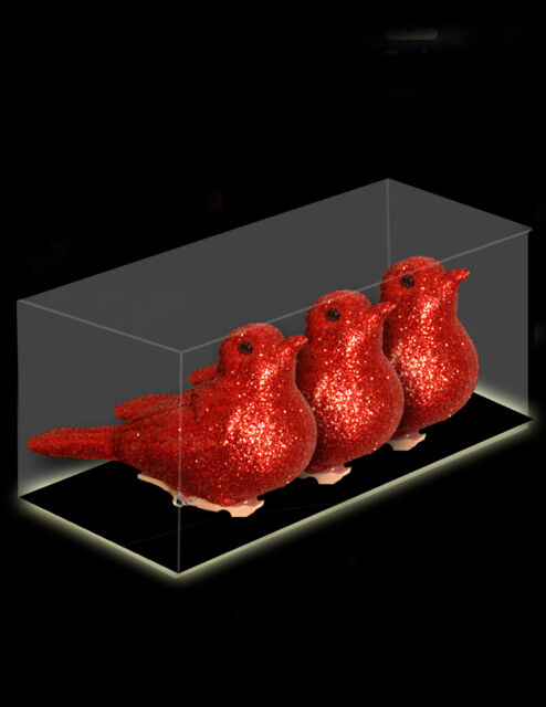 Pack Of 3 - 8cm RED Clip On Birds Christmas Tree Decorations (DP20)