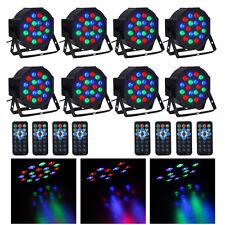 8PCS 18-LED 36W RGB Stage Lighting DMX512 Laser Protector LED Par Light + Remote