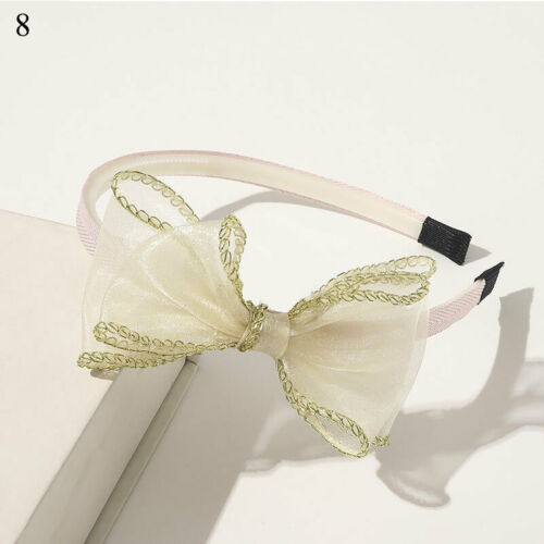 Unique Hair Hoop Children Girl Headband Lace Wave Point Double Bowknot Tie Decor