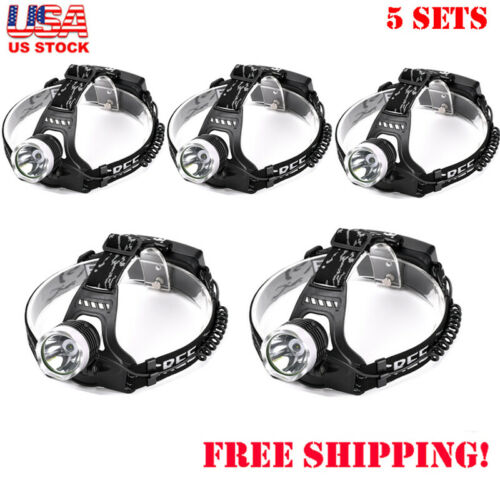 Tactical 5X10000LM LED Black Headlamp 3 Modes Cree Headlight Torch For Camping