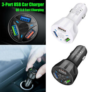 Auto-Car-Charger-Adapter-LED-Display-QC-3-0-Fast-Charging-for-iPhone-8-X-Samsung