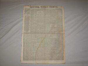 SATURDAY NOVEMBER 3 1849 NEW YORK WEEKLY TRIBUNE NEWSPAPER HIGHLY COLLECTIBLE !