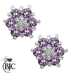 BJC-9kt-Oro-Giallo-Naturale-Ametista-amp-Diamante-Orecchini-A-Lobo-A-Grappolo
