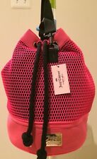 NWT Auth Juicy Couture Perf Scuba Mesh Sling Bag Weekender Travel Gym Neon Pink