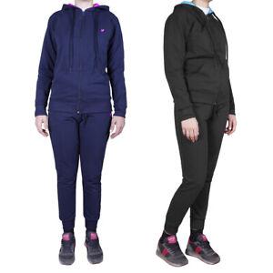 Tuta-Sportiva-Donna-Slim-Fit-Cotone-felpa-Cappuccio-Pantaloni-Laccetti-Nero-Blu