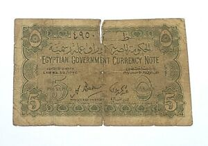 1940-Egypt-5-Piastres-WWII-Circulated-Egyptian-Banknote-Currency-Note