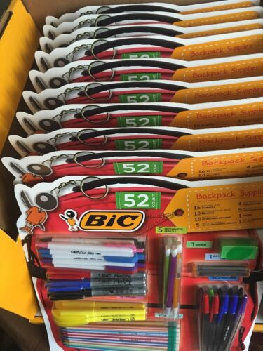 10X BIC 52 Count Backpack Supplies Pencils Pens Markers Highlighters