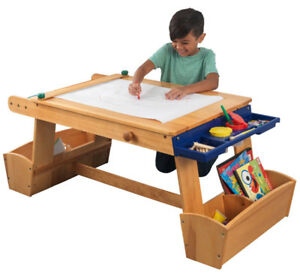 Painting Table For Kids Art Storage With Drying Rack Paper Roll