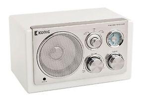 RADIO DESIGN RETRO VINTAGE AM FM PORTABLE BLANCHE ENTREE AUX MP3 ...