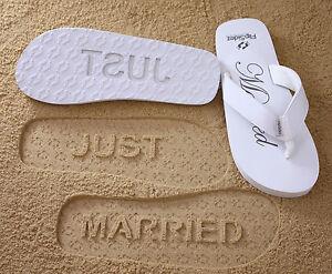 54f6fb7b9 Image is loading JUST-MARRIED-Flip-Flops-FlipSidez-Sand-Imprint-Sandals