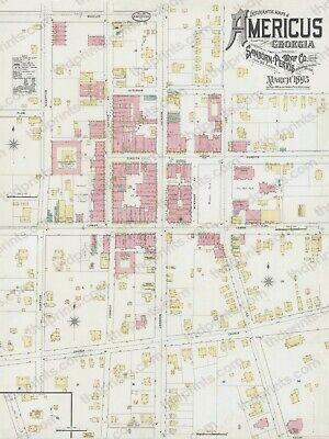 Americus Ga Georgia 1895 Antique Historic Map Copy 12 5 X 16 5 Free Shipping Ebay