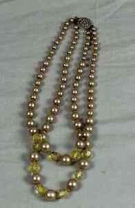 Perlenkette-2-reihig-Modeschmuck-kurze-Halskette-mit-schoenem-Verschluss-S237