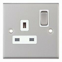 Selectric 7MPRO Contempry Sockets and Fittings Satin Chrome White Insert