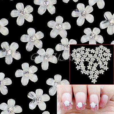 40Pcs Crystal Rhinestone Decor 3D Flower Nail Art Tips Accessories Glitters DIY