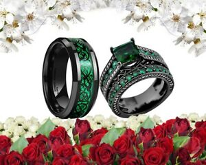 His Tungsten and Her Black Gold Cz Green Band Bridal Engagement