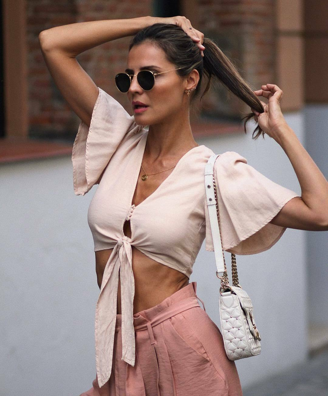 Zara Knotted Rustic Crop Top Rosa Nude Linen Womans Small BNWT Blogger 6929 200