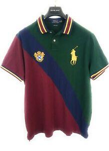 Polo-Ralph-Lauren-Big-Pony-Crest-Navy-Blue-Green-Men-039-s-Shirt-Size-XXL-Slim-Fit