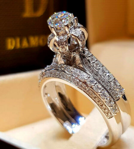 Luxurious Shiny 925 Silver White Sapphire Bridal Engagement Jewelry Ring Set