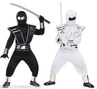 Boys Black or White Deluxe Mirror Ninja Halloween Fancy Dress Costume Outfit