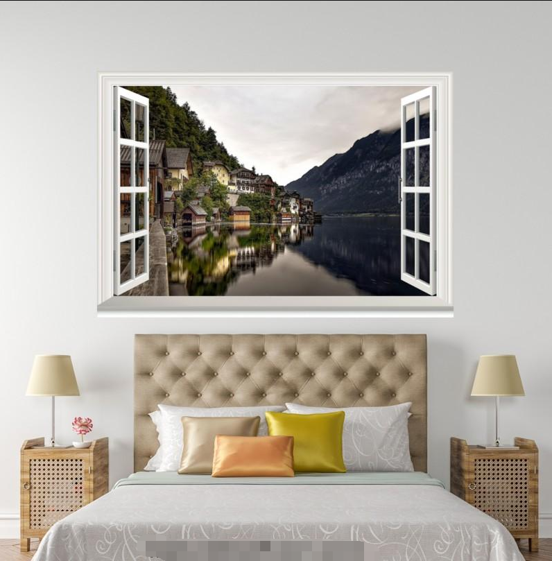 3D Halmet River Trees 148 Open Windows WallPaper Wandbilder Wall Print AJ Jenny