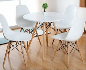Como Round Dining Table With Solid Beech Wood Legs White Toptable