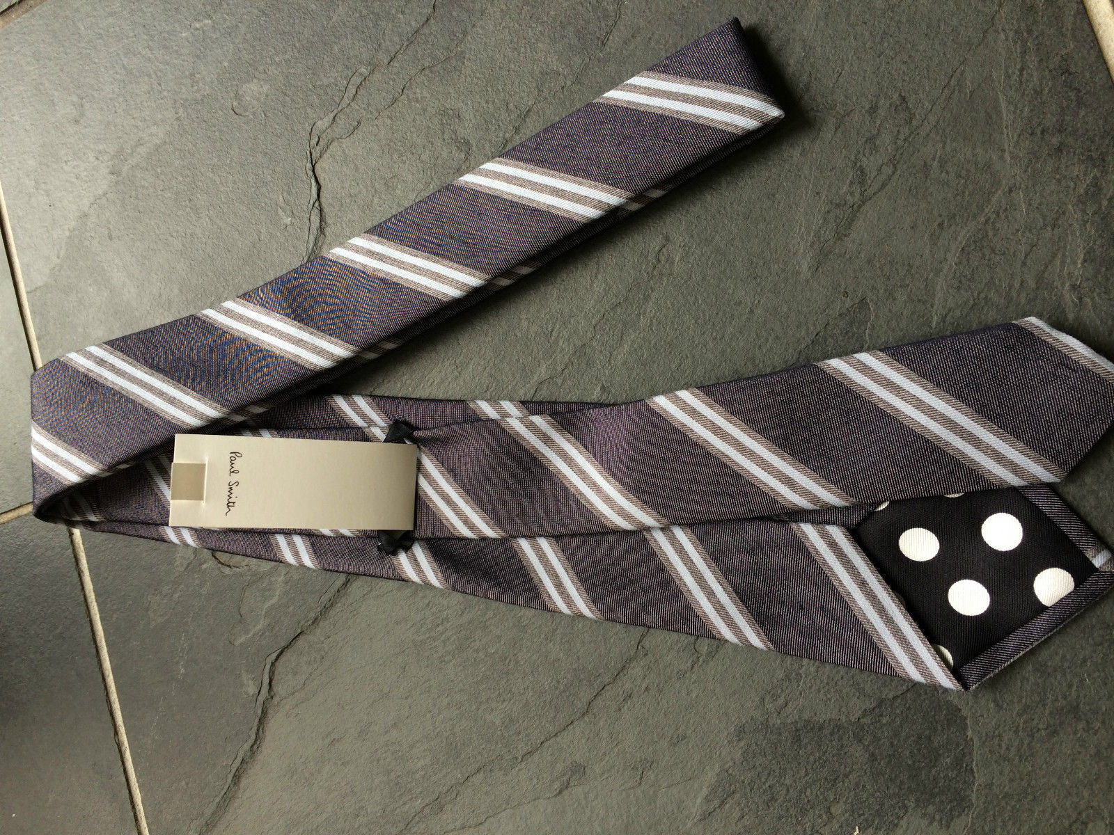 PAUL SMITH 57% 57% 57% Silk   43% Blau  Cotton Stripe TIE   - 9cm Blade | Sehr gute Qualität