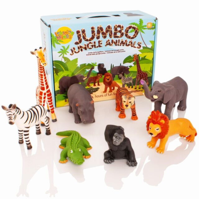 Learning Minds 8 Jumbo Jungle Wild Zoo Animal Play Figures Toys Childrens/Kids