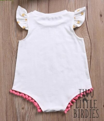 Unicorn Baby Grow Vest Body Suit gift idea Romper Glittery Gold Chritmas Xmas